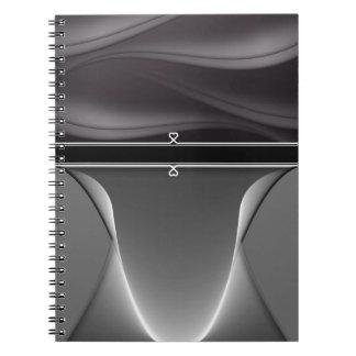 Metal Girly Heart Monogram Spiral Notebook