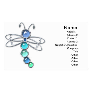 Metal Glass Dragonfly Business Card