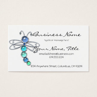 Metal & Glass Dragonfly Design 2 Business Cards