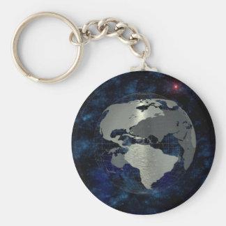 Metal Global Map Basic Round Button Keychain