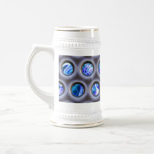 metal grate over a glowing blue plasma texture coffee mug