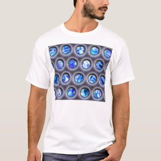 metal grate over a glowing blue plasma texture T-Shirt