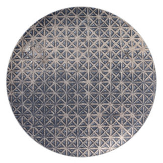 metal grating mesh pattern dinner plate