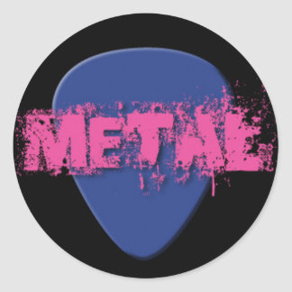 Metal Guitar Pick in Pink and Blue Classic Round Sticker