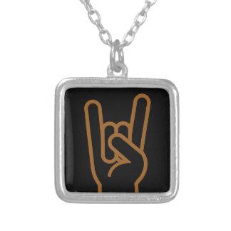 Metal Hand Square Pendant Necklace
