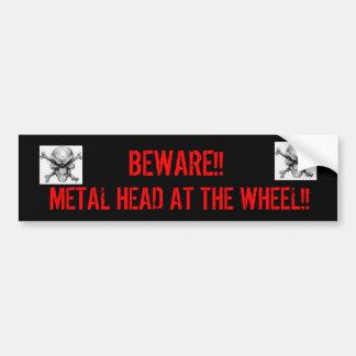 Metal Head At the Wheel Bumper Sticker