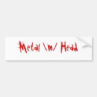 Metal head bumper stickers