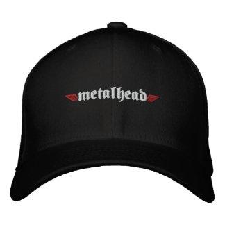 Metal Head Hat w Skull on Back Embroidered Baseball Cap