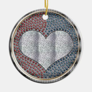 metal heart ceramic ornament