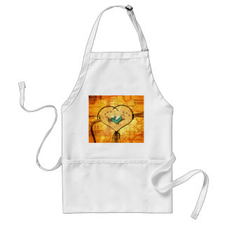 Metal heart with pipes, ducts and gears in yellow adult apron