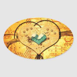 Metal heart with pipes, ducts and gears in yellow oval sticker