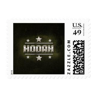 Metal Hooah Text Postage Stamp