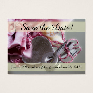 Metal Journey Key Save the Date Business Card
