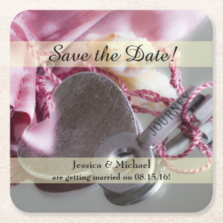 Metal Journey Key Save the Date Square Paper Coaster