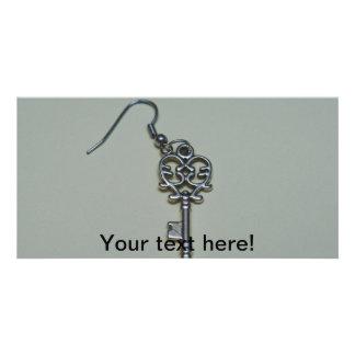 Metal key earring photo card