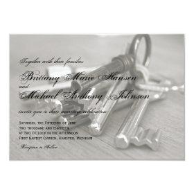 Metal Keys Rustic Wedding Invitations 4.5