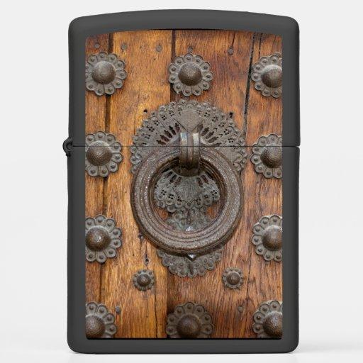 Metal Knocker On Old Wooden Door Zippo Lighter Zazzle