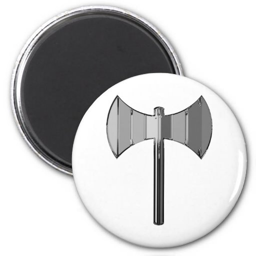 Metal Labrys 2 Inch Round Magnet