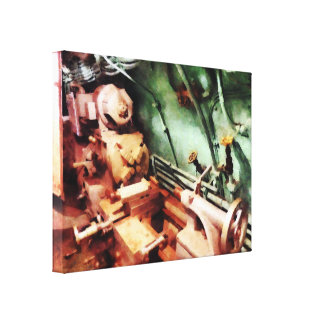 Metal Lathe in Submarine Stretched Canvas Prints