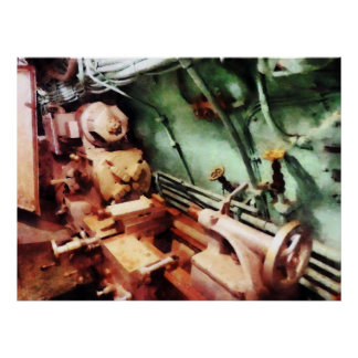 Metal Lathe in Submarine Poster