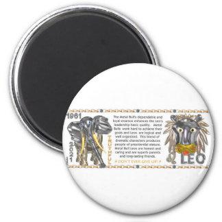 Metal leo llevado toro-Buey del zodiaco del chino  Imán Redondo 5 Cm
