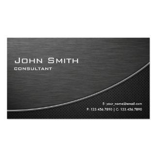 Metal llano moderno elegante profesional negro tarjetas de visita