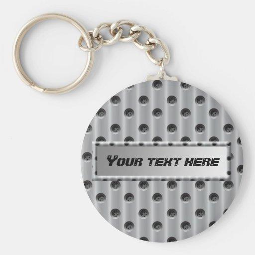 Metal-Look Basic Round Button Keychain