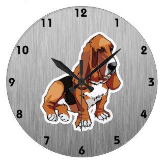 Metal look; Basset Hound Large Clock