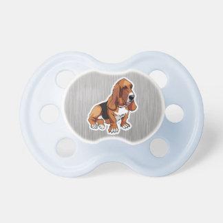 Metal look; Basset Hound Baby Pacifiers