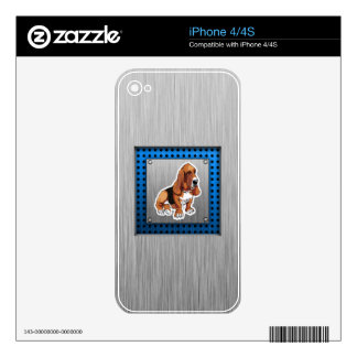 Metal look; Basset Hound Decal For iPhone 4