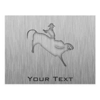 Metal-look Bull Rider Postcard