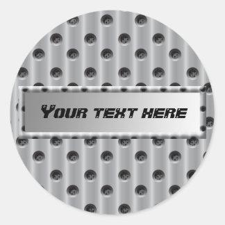 Metal-Look Classic Round Sticker