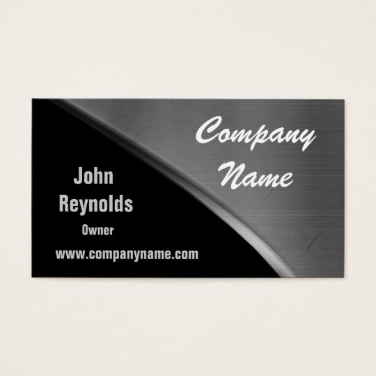 Metal Look Cool Silver And Black Business Cards