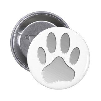 Metal-Look Dog Paw Print Button