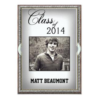 Metal Look Frame Photo Graduation Custom Announcements