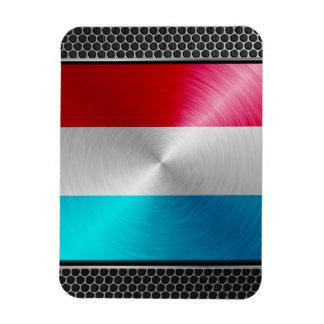 Metal-look Luxembourg Flag; Rectangular Photo Magnet