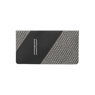 Metal Look Monogrammed Check Book Cover