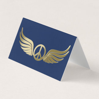 Metal look peace symbol with wings business card
