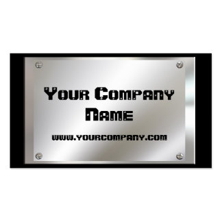 Metal Look Plate With Screws Business Cards