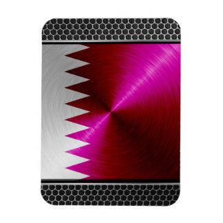 Metal-look Qatar Flag Rectangular Photo Magnet