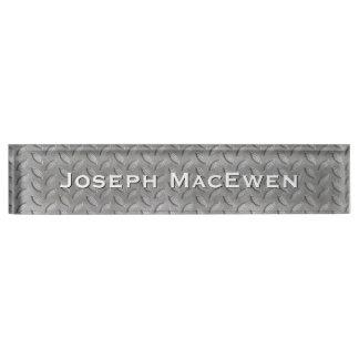 Metal Look Tread Plate Custom Desk Nameplate
