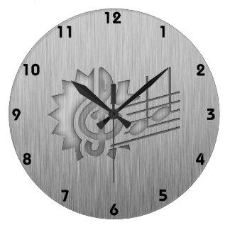 Metal-look Treble Clef Wall Clock