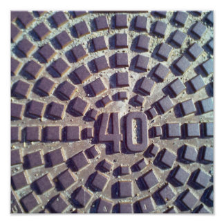 Metal Manhole cover number 40 Poster