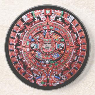 Metal Mayan Sunstone Calender Beverage Coaster