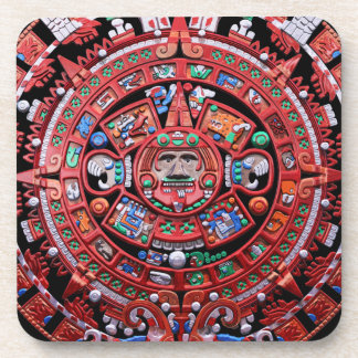Metal Mayan Sunstone Calender Beverage Coasters