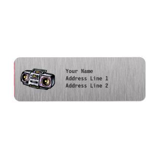 Metal-mirada cepillada Boombox Etiqueta De Remite