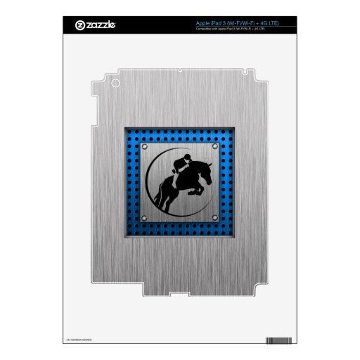Metal-mirada cepillada; Equestrian azul iPad 3 Skins