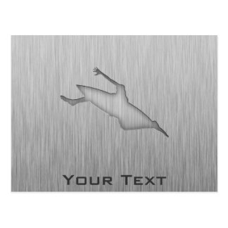 Metal-mirada cepillada Kayaking Tarjeta Postal