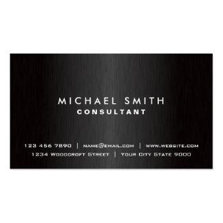 Metal moderno negro llano profesional elegante plantilla de tarjeta de negocio