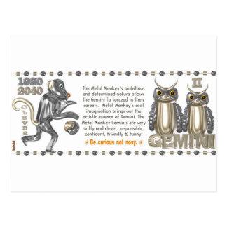 Metal Monkey zodiac born Gemini 1980 Postcard